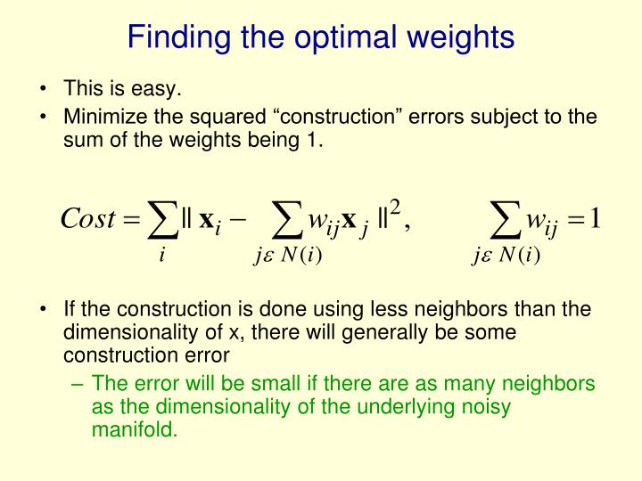 Finding the optimal weights