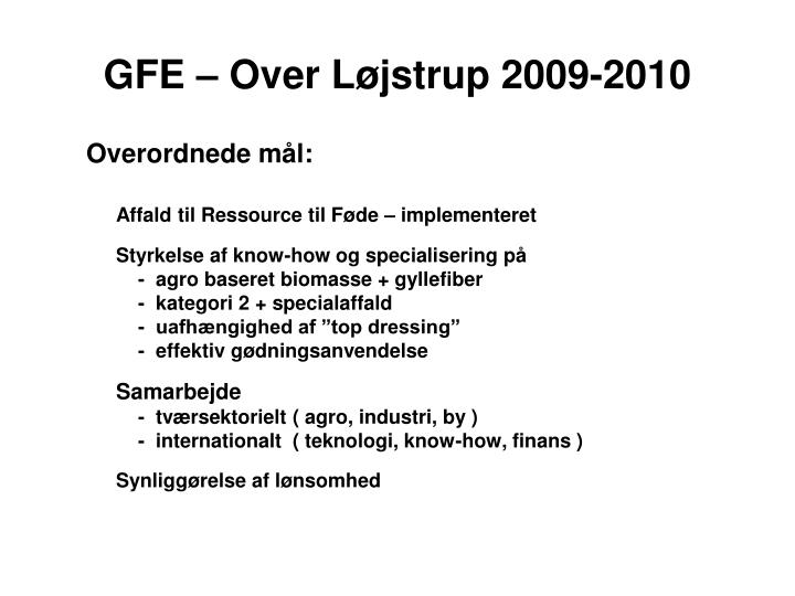 GFE – Over Løjstrup 2009-2010