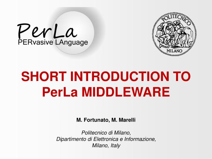 short introduction to perla middleware n.