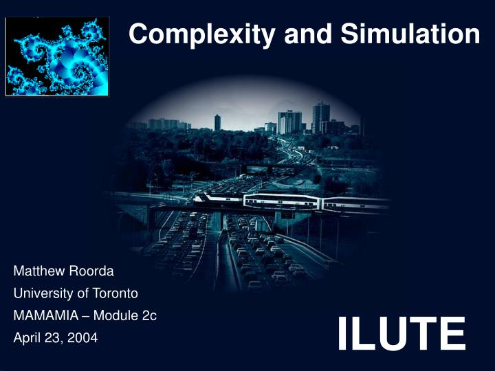 complexity and simulation n.