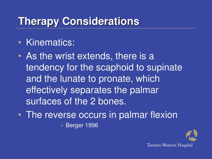 Therapy Considerations