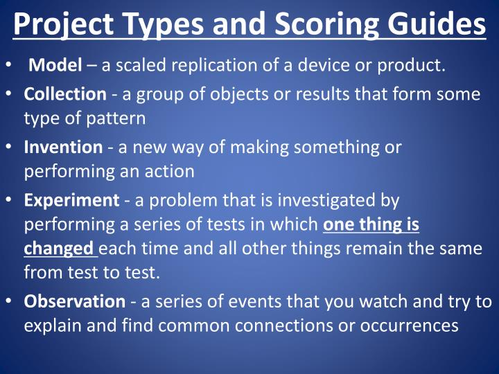Project Types and Scoring Guides