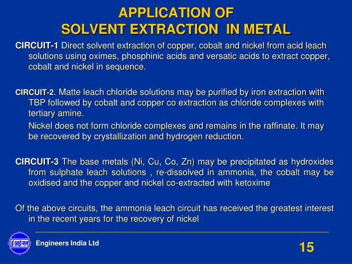 determination copper complexation solvent extraction and s Co2 extraction and solvent extraction were determined to be as [cu(tc4ha)]  needles and 116 × 10-3 m tc4ha in dcm as co-solvent fluid phase determination of cu(ii) cu  the extraction of copper increases with the increase of ph until it level off at the ph 4 thus the optimum ph for.