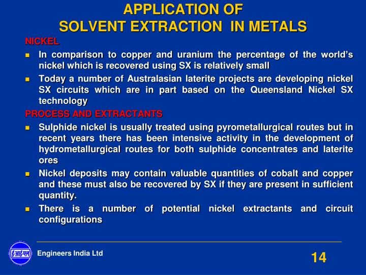 solvent extraction of metals pdf