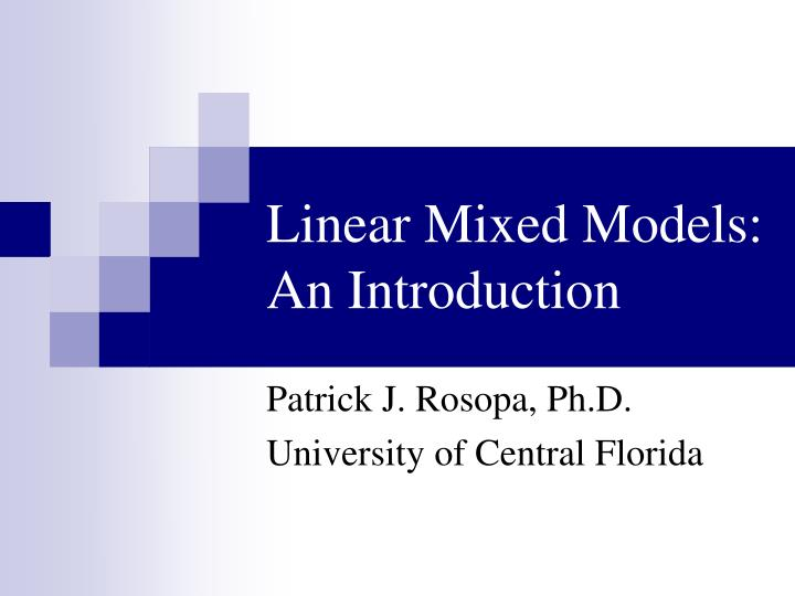 linear mixed models an introduction n.