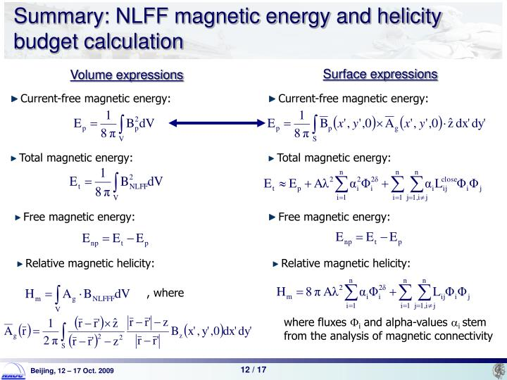 Summary: NLFF magnetic energy and helicity budget calculation