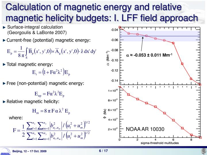 Calculation of magnetic energy and relative magnetic helicity budgets: I. LFF field approach
