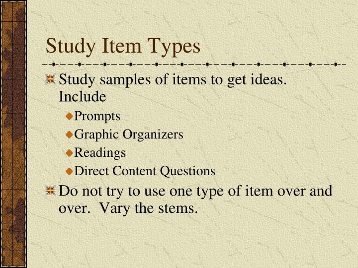 Study Item Types