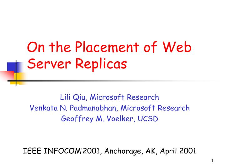 on the placement of web server replicas