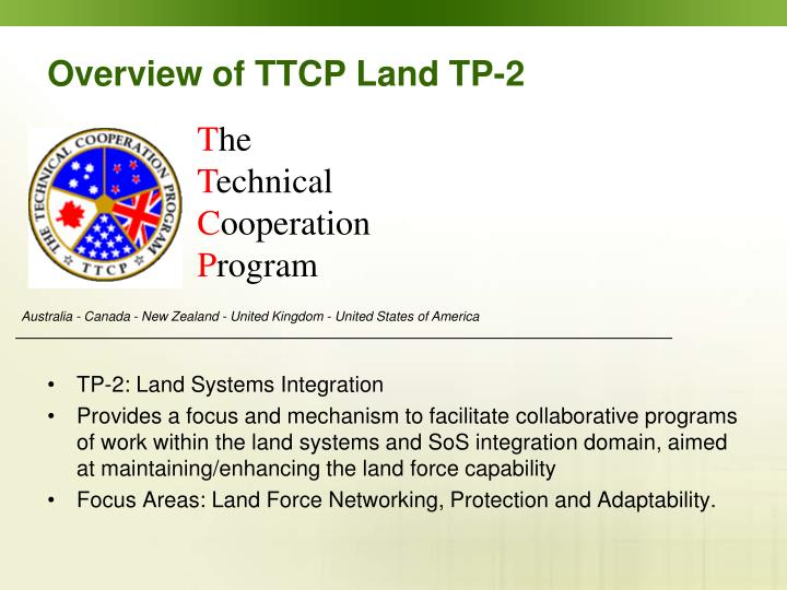 Overview of ttcp land tp 2