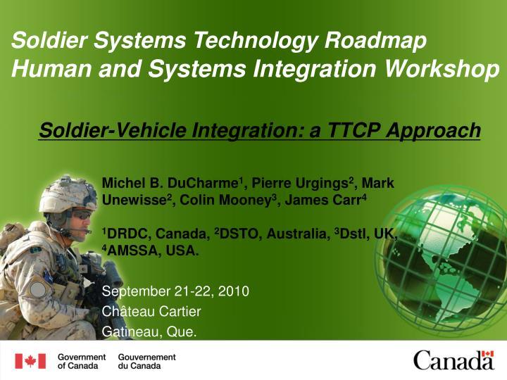 Soldier vehicle integration a ttcp approach