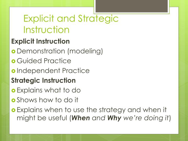 Explicit and Strategic Instruction