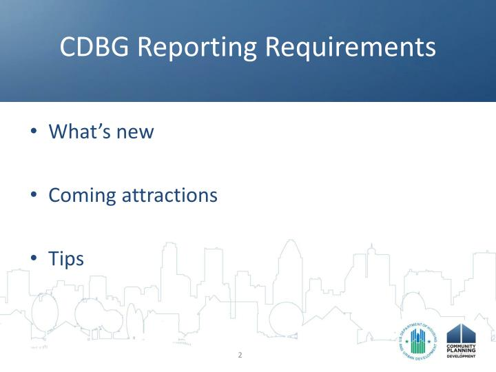 Cdbg reporting requirements