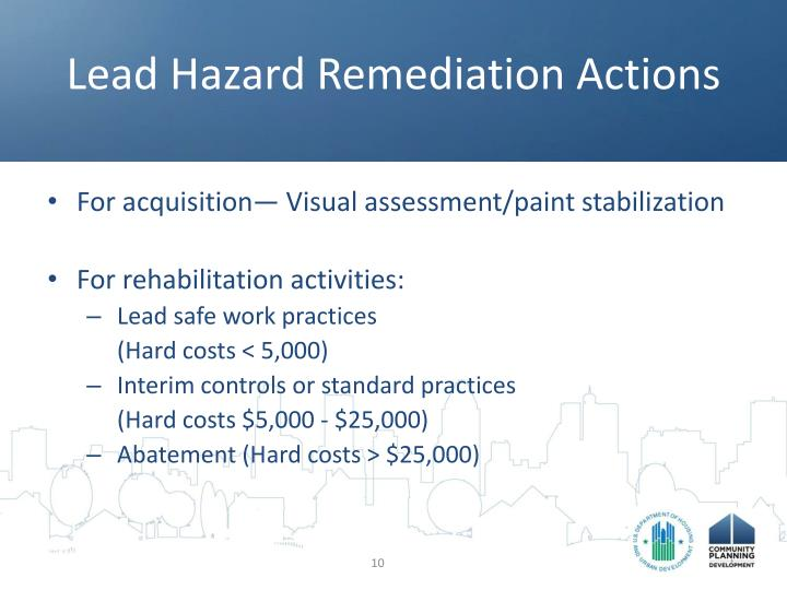 Lead Hazard Remediation Actions