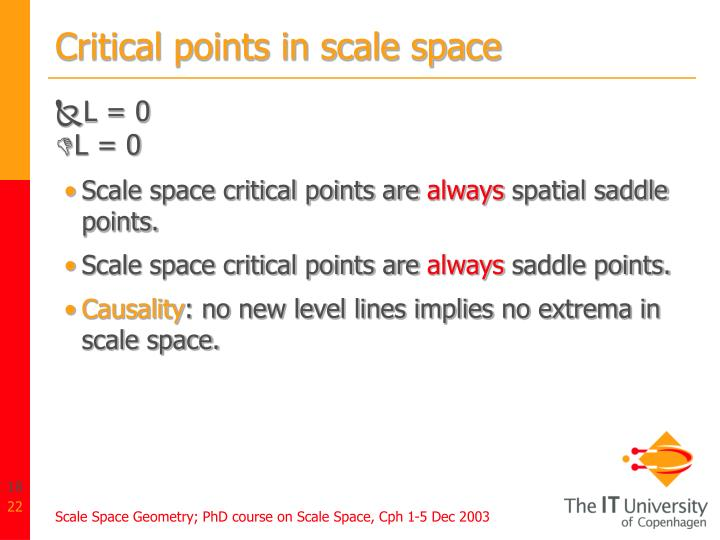 Critical points in scale space