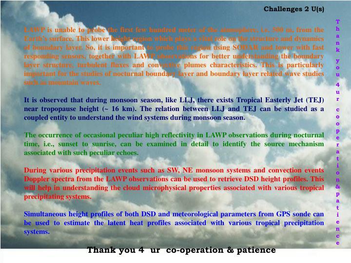 Challenges 2 U(s)