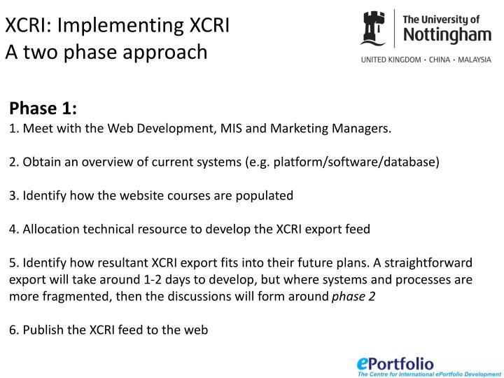 XCRI: Implementing XCRI