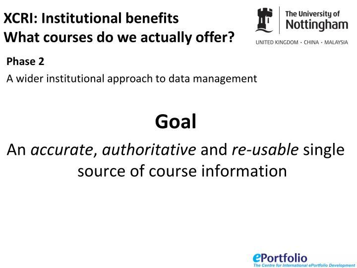 XCRI: Institutional benefits