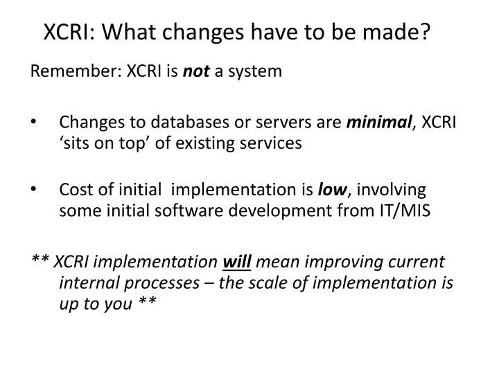 XCRI: What changes have to be made?