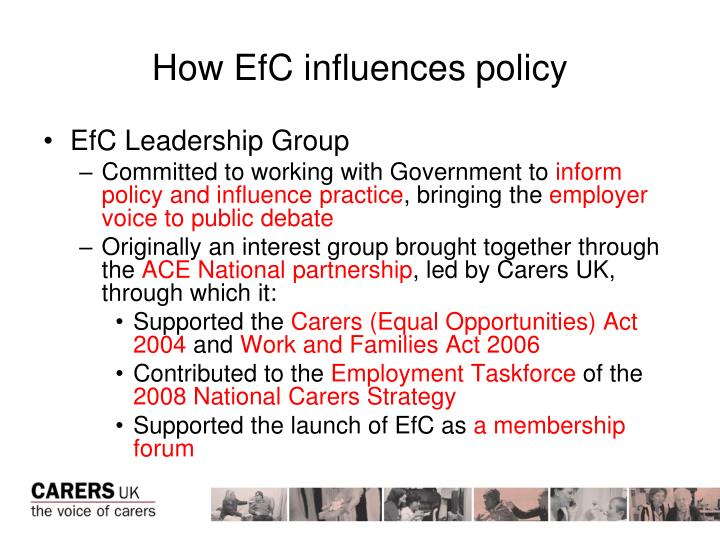 How EfC influences policy