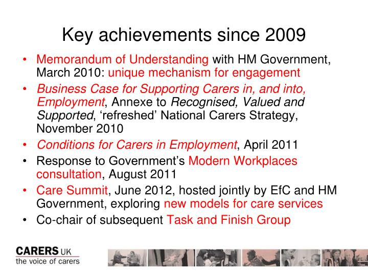 Key achievements since 2009