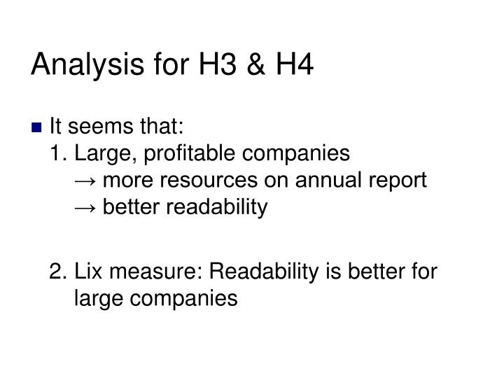 Analysis for H3 & H4