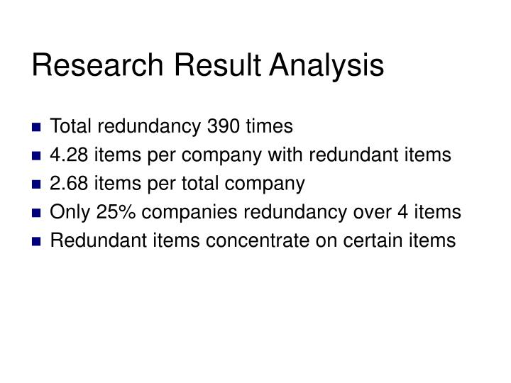 Research Result Analysis