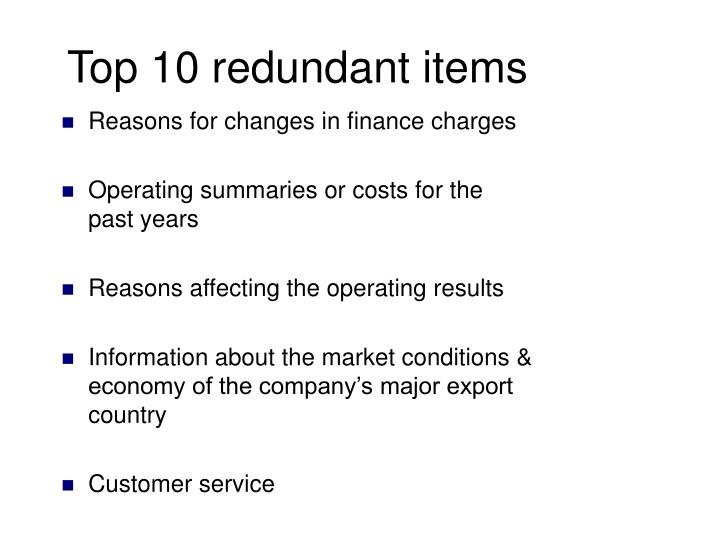 Reasons for changes in finance charges