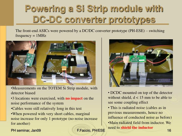Powering a Si Strip module with