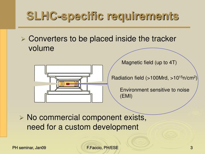 Slhc specific requirements