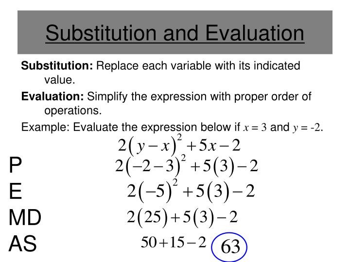 Substitution and Evaluation