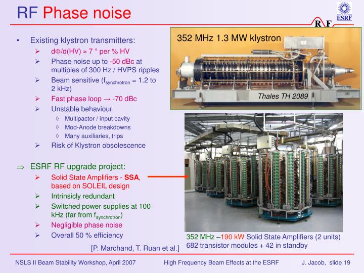 Existing klystron transmitters: