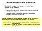declarative specification contract