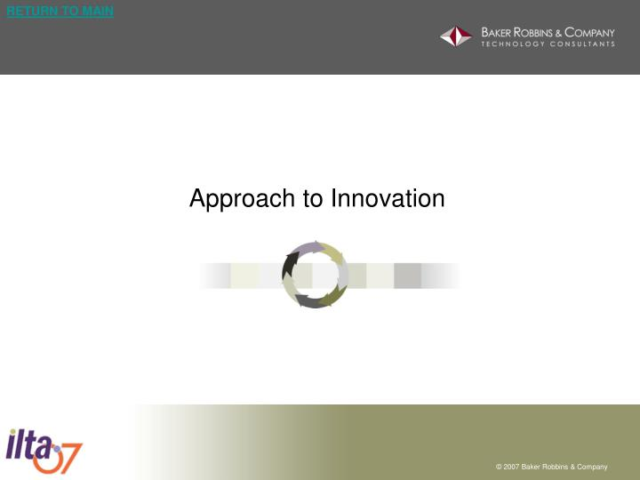 Approach to Innovation
