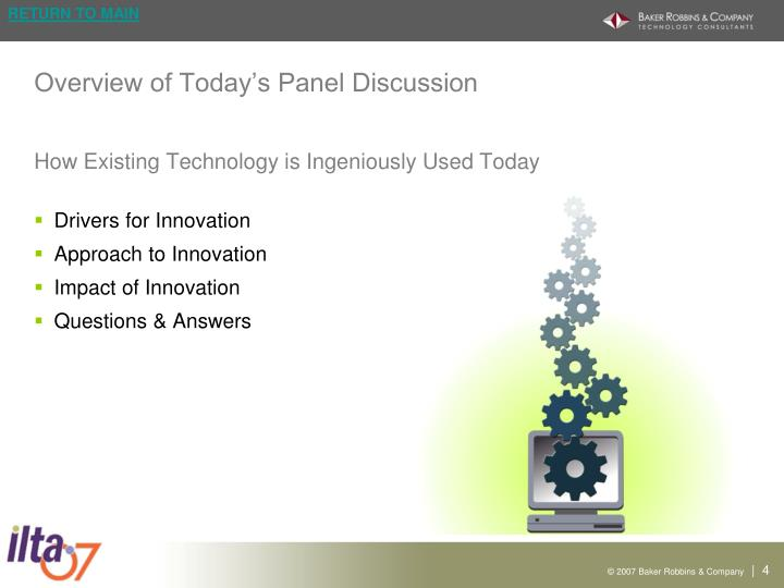 Overview of Today's Panel Discussion