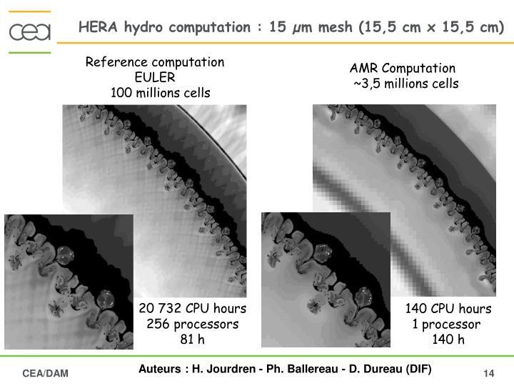 HERA hydro computation : 15 µm mesh (15,5 cm x 15,5 cm)