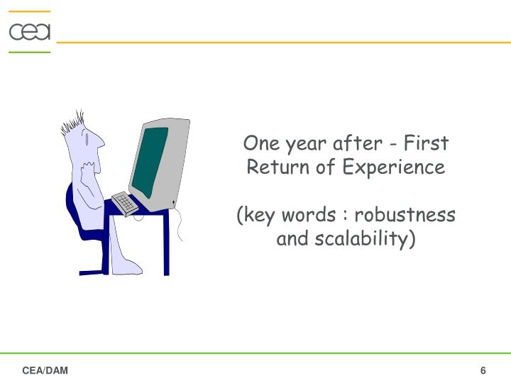 One year after - First Return of Experience