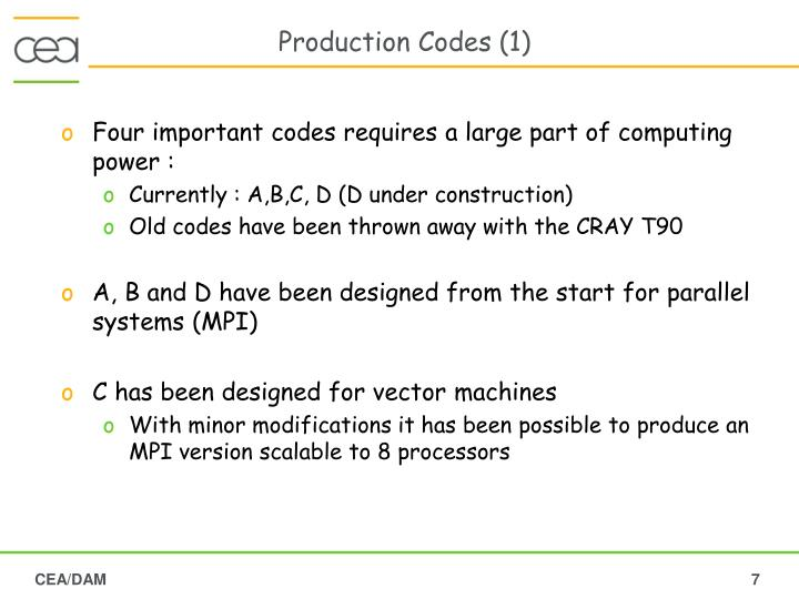 Production Codes (1)