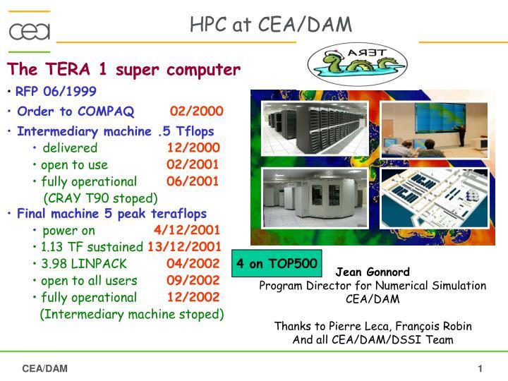 HPC at CEA/DAM