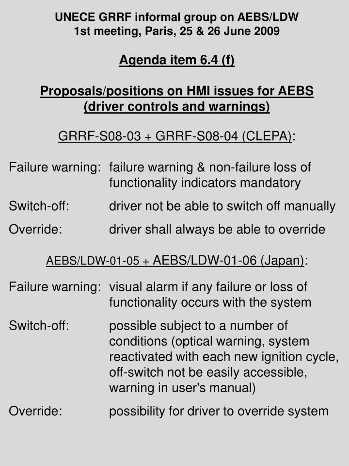 UNECE GRRF informal group on AEBS/LDW
