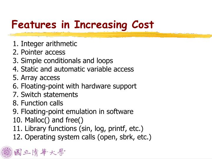 Features in Increasing Cost