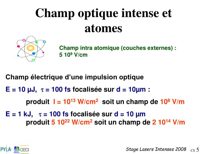 Champ optique intense et atomes