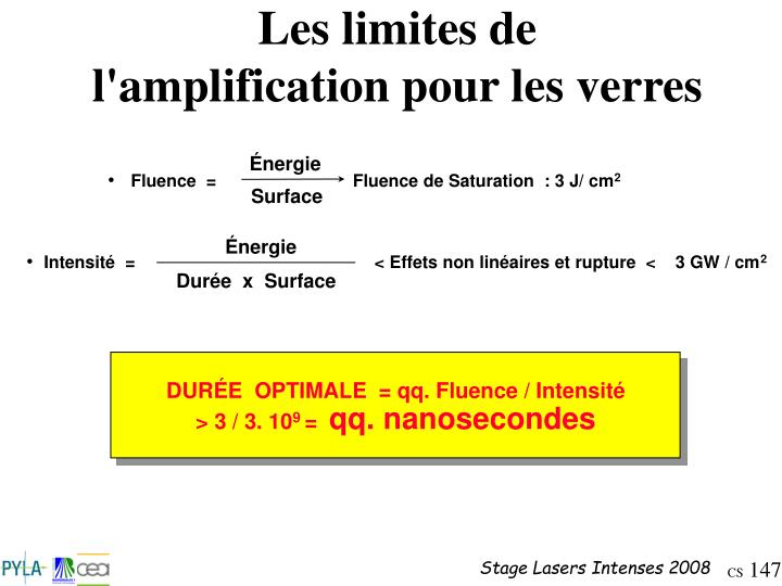 DURÉE  OPTIMALE  = qq. Fluence / Intensité