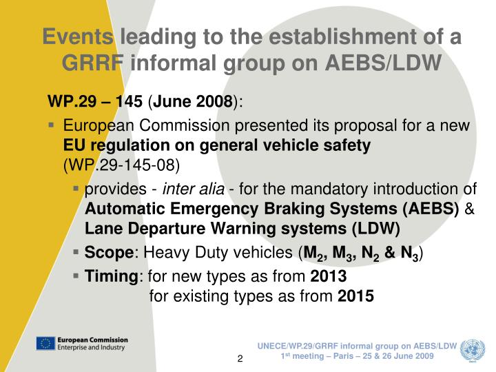 Events leading to the establishment of a grrf informal group on aebs ldw