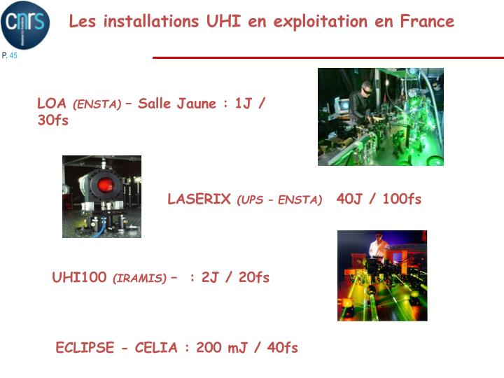 Les installations UHI en exploitation en France