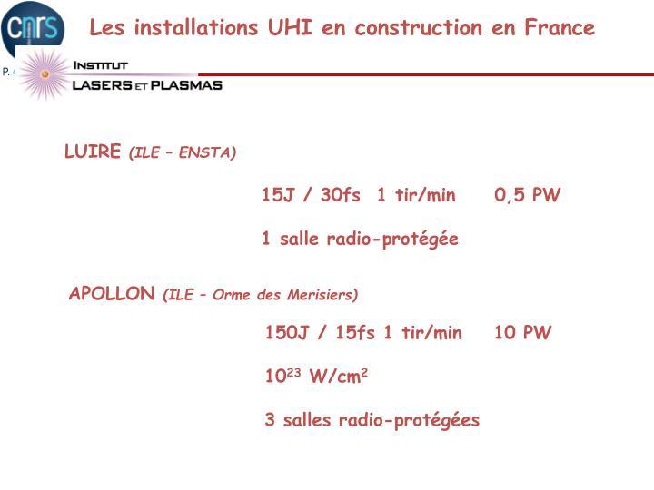 Les installations UHI en construction en France