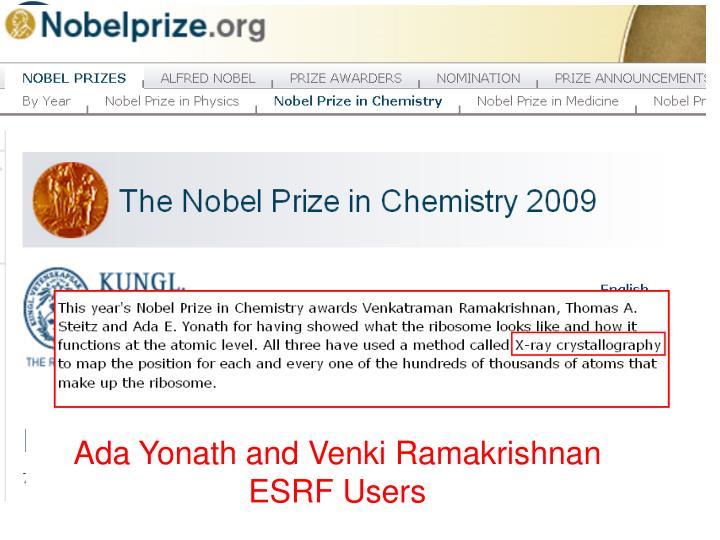 Ada Yonath and Venki Ramakrishnan ESRF Users