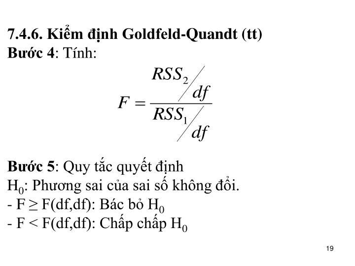 7.4.6. Kiểm định Goldfeld-Quandt (tt)