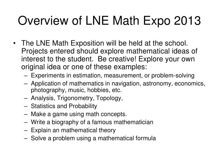 Overview of LNE Math Expo 2013
