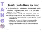 events pushed from the code1